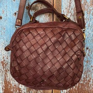 Civico 93 Mohican Dome Woven Panel Leather Purse